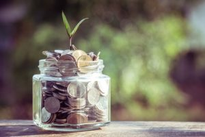 plant growing out of coins with filter effect retro vintage style